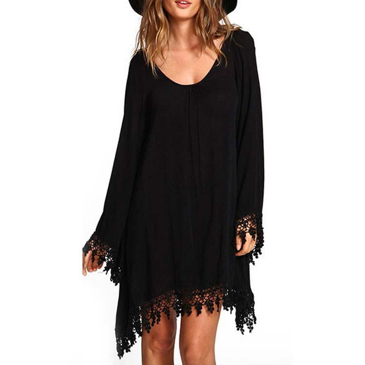 Long Sleeved Chiffon Irregular Tassel Hem Shift Dress