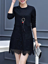 Round Neck  Decorative Lace Patch Pocket  Plain  Polyester Shift Dress