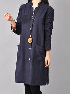 Linen Stand Collar Long Sleeve Buttoned Solid Dress