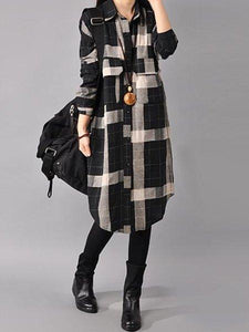 Black Buttoned Long Sleeve Shirt Collar Pockets Dress