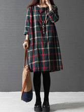 Dark Green A-Line Checkered/Plaid Casual Dress