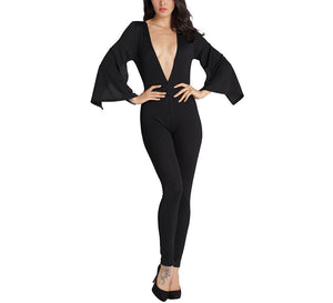 Sexy Slim Deep V-Neck Flare Sleeve Jumpsuit
