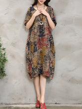 Yellow Cocoon Printed Vintage Dress