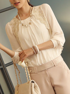 Round Neck  Decorative Lace  Embroidery Blouses
