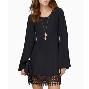 Lace Chiffon Long-Sleeved Shift Dress