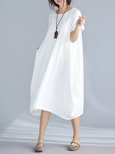 White Short Sleeve Cocoon Crew Neck Casual Dress