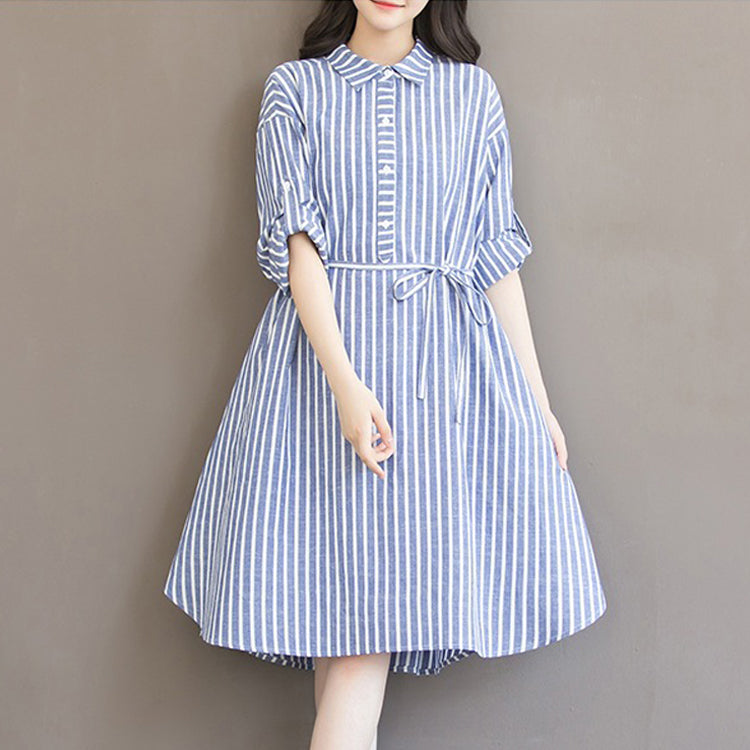 Stripes Shirt Cotton Loose Shift Dress