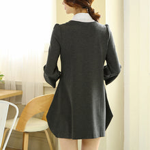 Shirt Collar Long Sleeved Cotton Shift Dress