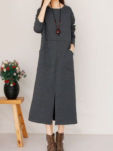 Band Collar  Patch Pocket Slit  Plain  Cotton Maxi Dress