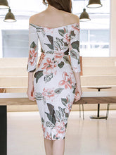 Off Shoulder Floral Printed Bodycon Dress