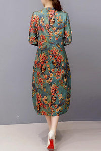 Band Collar  Single Breasted  Floral Printed Vintage Casual Dresses