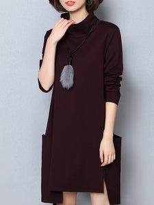 High Neck Asymmetric Hem Patch Pocket Plain Shift Dress