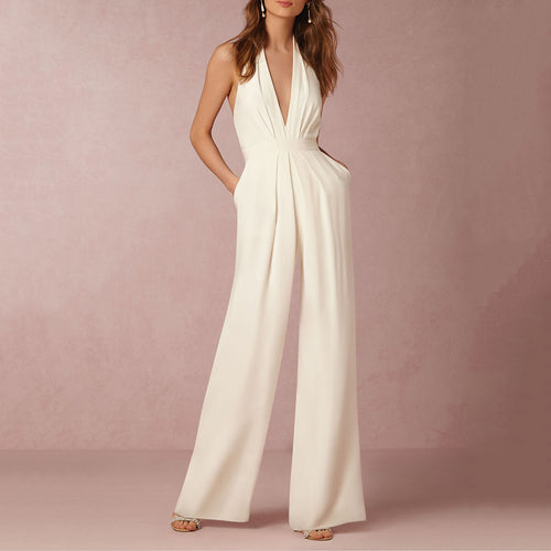 Sexy Deep V Collar Halter Sleeveless Jumpsuit