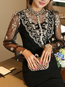 Beading See Through  Embroidery Blouses