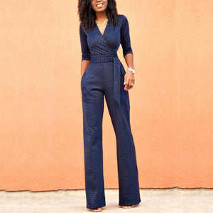 Sexy Lace V-Neck Printed Jumpsuit