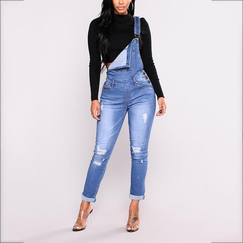Fashion Hole Strap Skinny Jeans Jumpsuit
