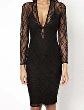 Deep V Perspective Lace Stitching Sexy Bodycon Dress