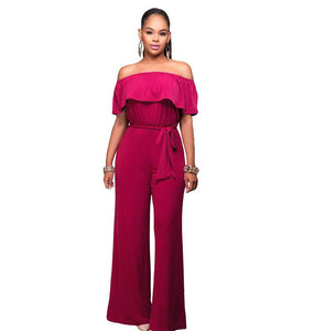 Plus Size Cutaway Collar Lotus Jumpsuit With Belt