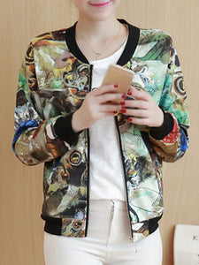 Band Collar Pocket Printed Bomber Jacket