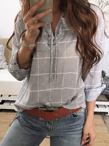Turn Down Collar  Drawstring  Plaid  Roll-Up Sleeve Blouses