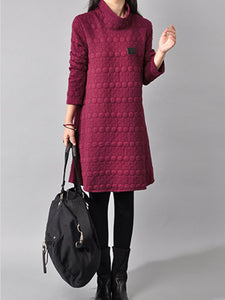 High Neck Plain Embossed Shift Dress