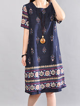 Round Neck Tribal Printed Shift Dress