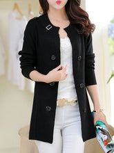 Collarless  Decorative Buttons  Belt  Plain Trench Coats