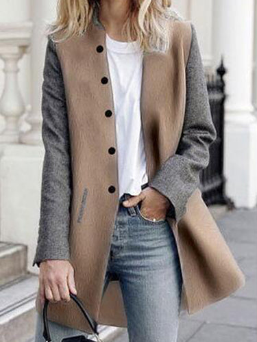 Band Collar Single Breasted Color Block Woolen Jacket