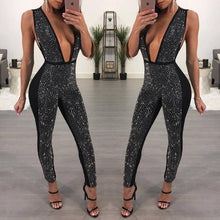 Deep V-Neck Artificial Drilling Jumpsuit