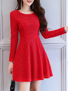 Round Neck  Hollow Out  Lace Skater Dress