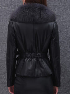 Faux Fur Collar Elastic Waist Plain PU Leather Jacket
