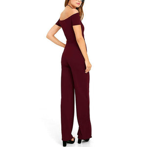 Cutaway Shoulder Solid Color Sexy Jumpsuit