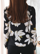 V-Neck  Decorative Button  Floral Blouses