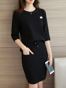 Round Neck Plain Knitted Top And Patch Pocket Skirt
