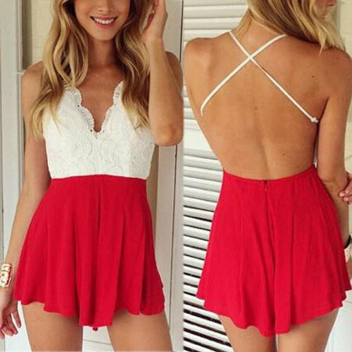 Back Cross V-Neck Halter Jumpsuit