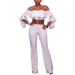 Cutaway Shoulder Speaker Sleeves Jumpsuit