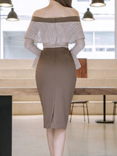Off Shoulder Bowknot Flounce Bell Sleeve Bodycon Dress