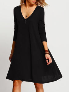 Deep V-Neck Plain Shift Dress
