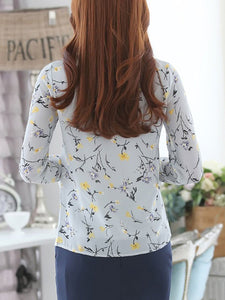 Band Collar  Drawstring  Floral  Petal Sleeve Blouses