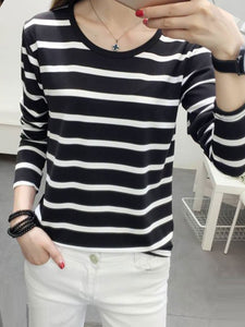 Round Neck  Striped Long Sleeve T-Shirts