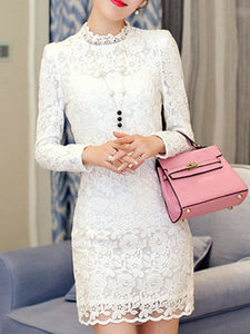 Band Collar Hollow Out Plain Lace Bodycon Dress