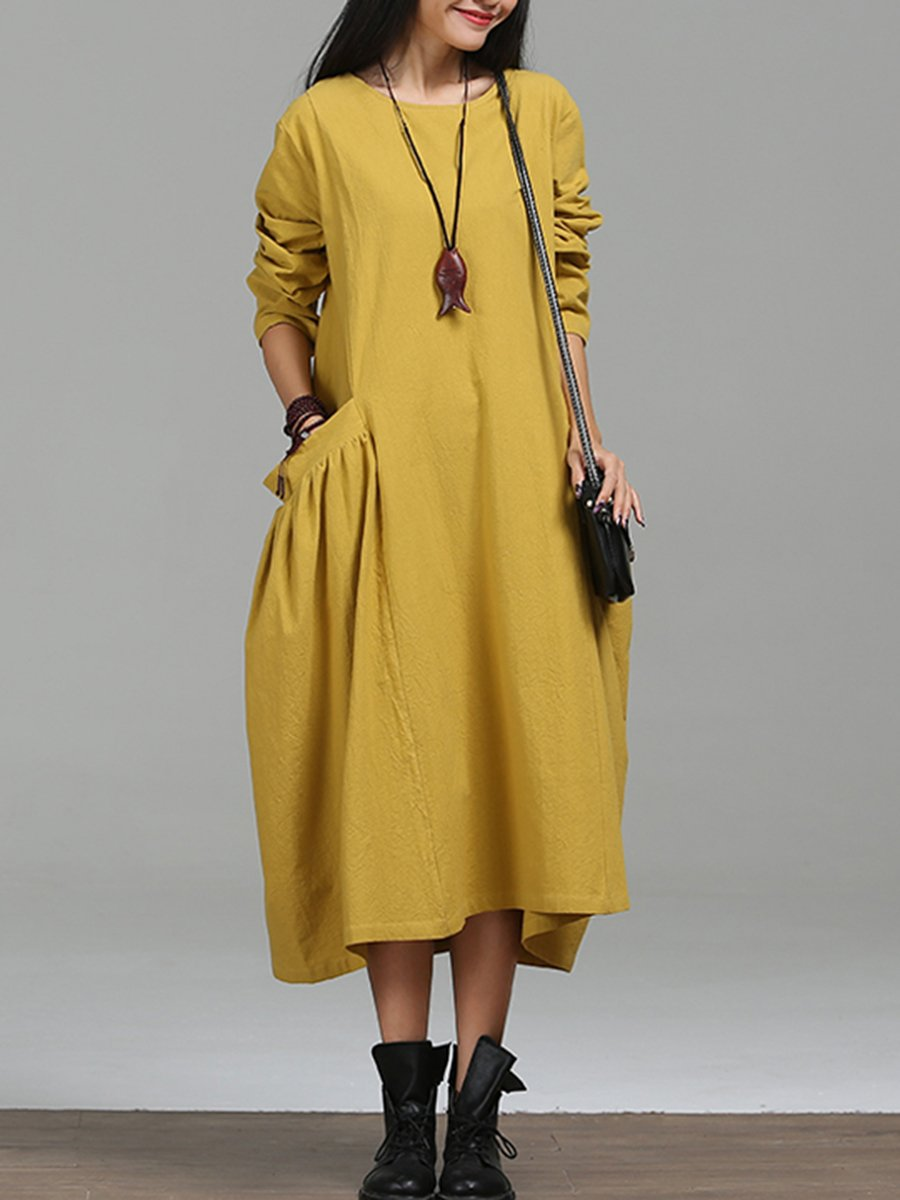 Oversized Round Neck Draped Pocket Plain Maxi Dress