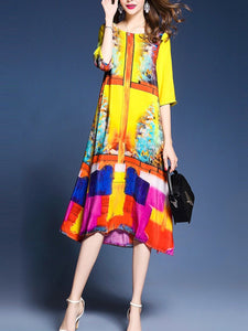 Colorful Round Neck Side Slit Printed Maxi Dress