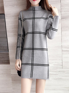 High Neck  Checkered Shift Dress