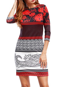 Round Neck Tribal Printed Bodycon Dress