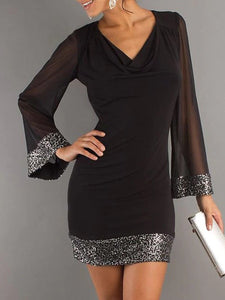 Cowl Neck Glitter Hollow Out Bodycon Dress