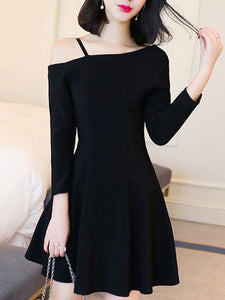 Asymmetric Neck  Plain  Polyester Skater Dress
