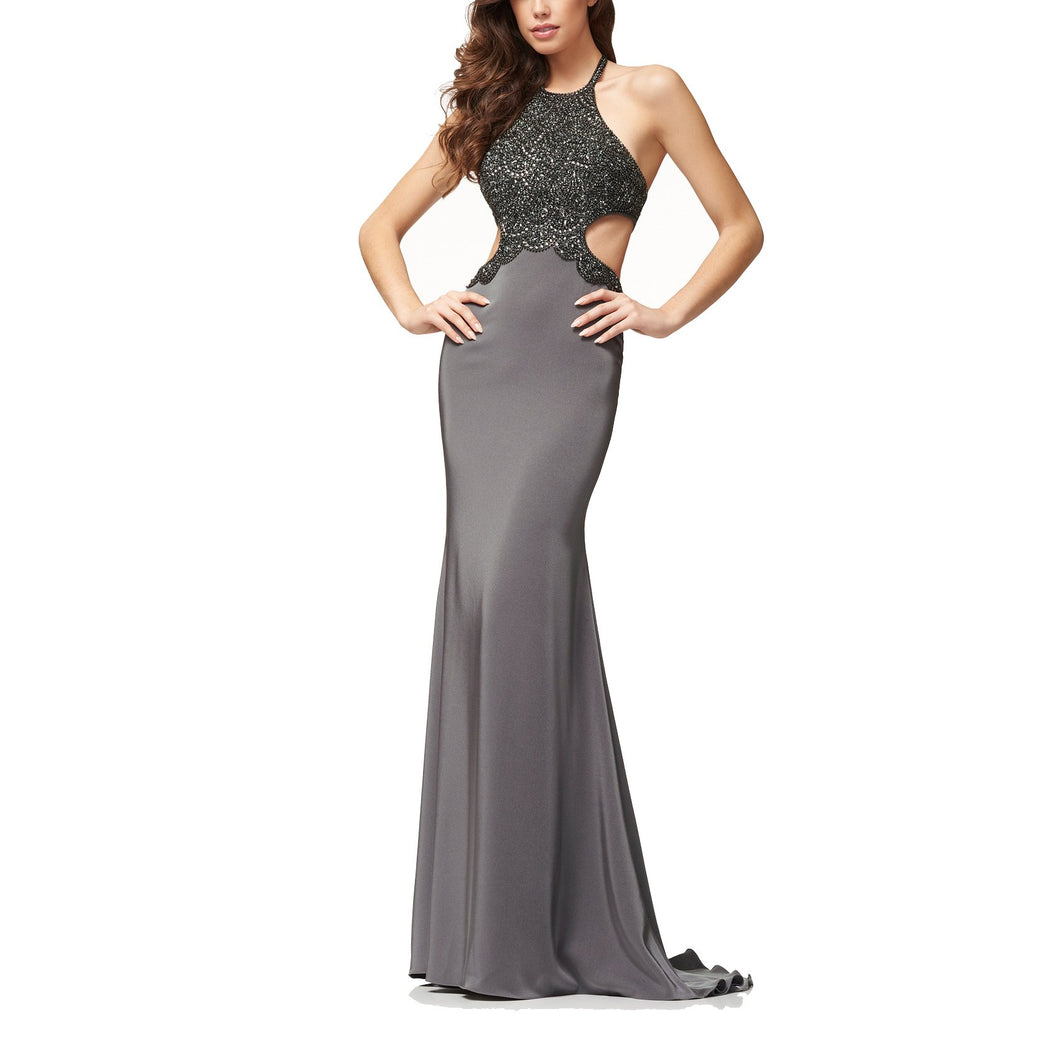 Milk Silk Halter Evening Dress