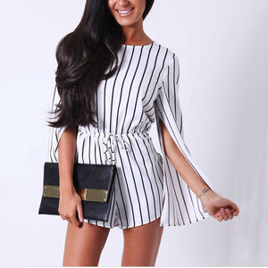 Black And White Striped Split Sleeve Shorts Jumpsuit