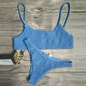 Sexy Pleated Triangle Swimsuit Bikini